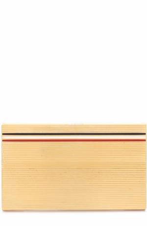 Футляр для визиток с контрастной отделкой Thom Browne. Цвет: золотой