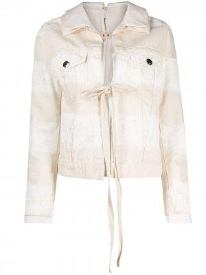 Джинсовая куртка с завязками Marni. Цвет: нейтральные цвета