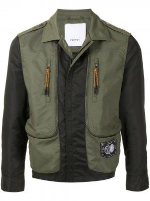 Куртка-бомбер на молнии со вставками Ports V. Цвет: зеленый
