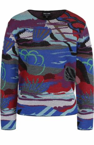 Пуловер с круглым вырезом и принтом Giorgio Armani. Цвет: разноцветный