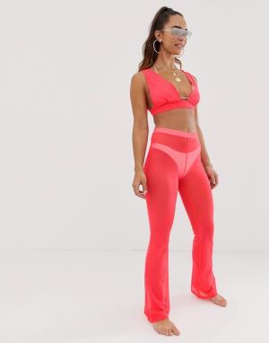 Комбинируемые трикотажные пляжные брюки -Розовый ASOS DESIGN
