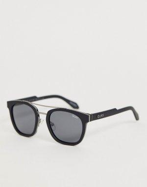 Круглые солнцезащитные очки в черной оправе coolin-Черный Quay Australia