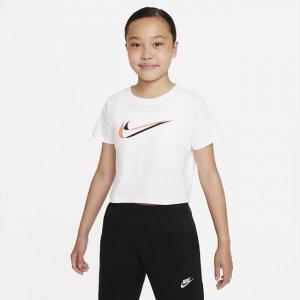 Укороченная футболка для танцев девочек школьного возраста Sportswear - Белый Nike