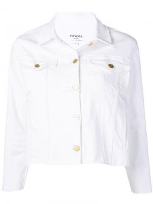 Укороченная куртка с эффектом потертости FRAME. Цвет: белый