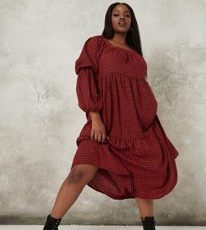 Красное платье макси с присборенной юбкой и принтом «гусиная лапка» -Красный Missguided Plus