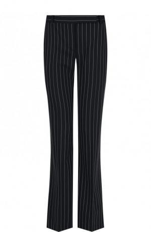 Расклешенные шерстяные брюки в полоску Alexander McQueen. Цвет: черно-белый