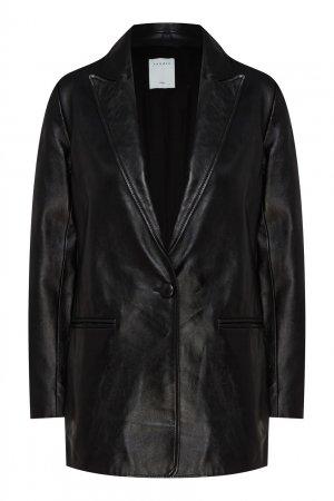 Черная кожаная куртка Sandro. Цвет: черный