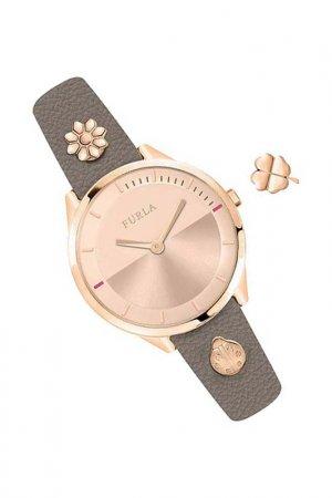 Наручные часы и съемный шарм Furla. Цвет: серый