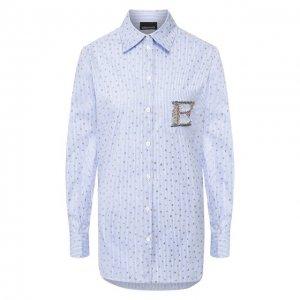 Хлопковая рубашка Ermanno Scervino. Цвет: синий