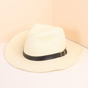 Мужская шляпа с декором ремня SHEIN. Цвет: белый