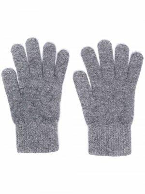 Кашемировые перчатки в рубчик Yves Salomon. Цвет: серый