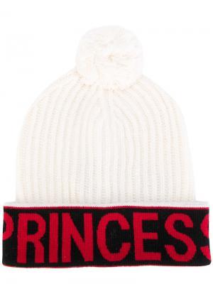 Шапка с помпоном Princess Dolce & Gabbana. Цвет: белый