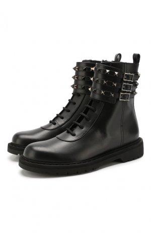 Кожаные ботинки Garavani Rockstud Valentino. Цвет: черный