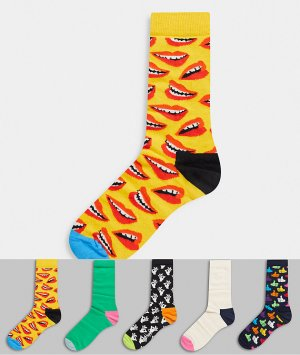 Подарочный набор из пяти пар носков -Многоцветный Happy Socks