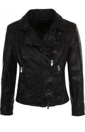 Кожаная куртка с укороченным рукавом и косой молнией DROMe. Цвет: черный