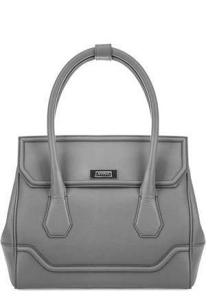 Кожаная сумка через плечо с одним отделом Modalu London. Цвет: серый