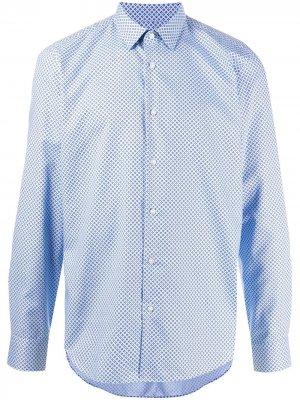 Рубашка с узором BOSS. Цвет: синий