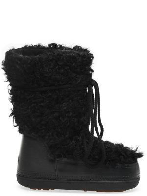 Ботинки-луноходы с отделкой из шерсти IKKII BOOTS. Цвет: черный