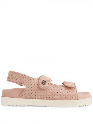 Сандалии на липучках с логотипом Double G Gucci. Цвет: розовый