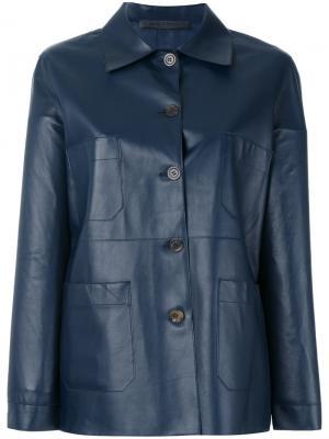 Кожаная куртка на пуговицах Simonetta Ravizza. Цвет: синий