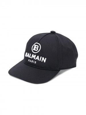Кепка с вышитым логотипом Balmain Kids. Цвет: черный