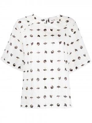 Блузка с принтом Alysi. Цвет: белый