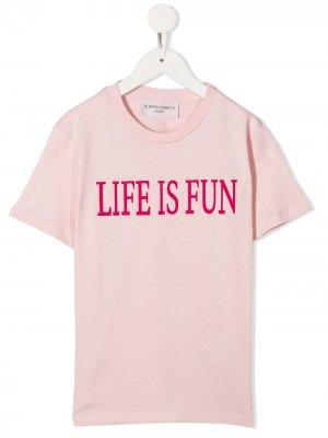 Футболка с принтом Life is Fun Alberta Ferretti Kids. Цвет: розовый