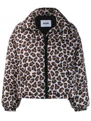 Куртка-бомбер с леопардовым принтом MSGM. Цвет: нейтральные цвета