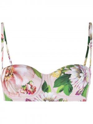 Лиф бикини с цветочным принтом Dolce & Gabbana. Цвет: нейтральные цвета