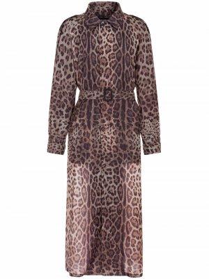 Длинный тренч с леопардовым принтом Dolce & Gabbana. Цвет: коричневый