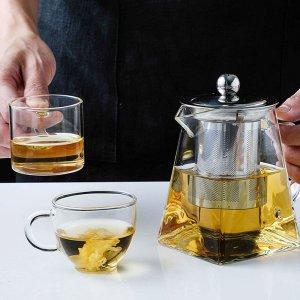 Стеклянный чайник с сеточкой для заваривания чая 1шт SHEIN. Цвет: белые