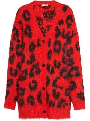 Кардиган с леопардовым принтом Miu. Цвет: красный