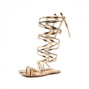 Кожаные сандалии Ribbon Gianvito Rossi. Цвет: золотой