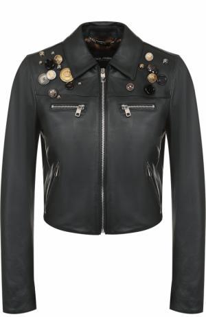Кожаная куртка с декоративной отделкой Dolce & Gabbana. Цвет: темно-зеленый