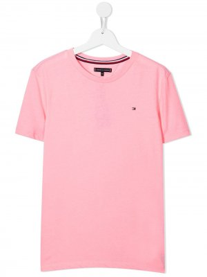 TEEN embroidered-logo short-sleeved T-shirt Tommy Hilfiger Junior. Цвет: розовый