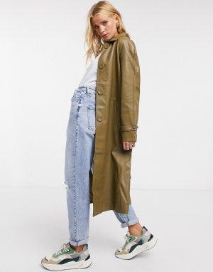 Пальто из искусственной кожи с воротником и поясом -Зеленый Fashion Union