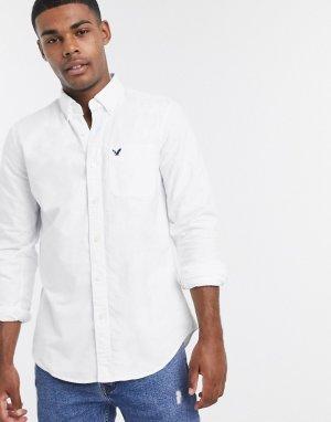 Белая узкая оксфордская рубашка с логотипом -Белый American Eagle