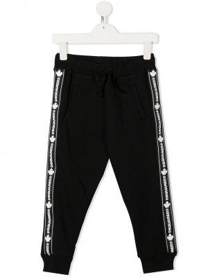 Спортивные брюки с логотипами на лампасах Dsquared2 Kids. Цвет: черный