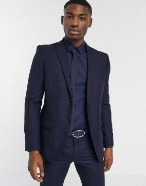 Темно-синий приталенный пиджак Ben Sherman
