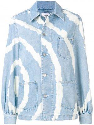 Выбеленная джинсовая куртка GANNI. Цвет: синий