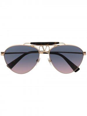Солнцезащитные очки-авиаторы с логотипом VLogo Valentino Eyewear. Цвет: золотистый