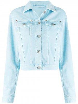 Джинсовая куртка на пуговицах Versace. Цвет: синий