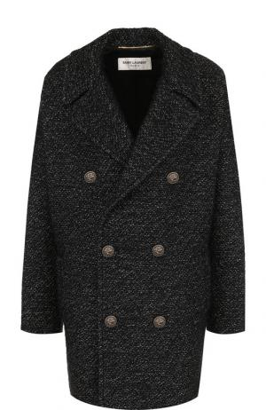 Двубортное пальто с декоративными пуговицами Saint Laurent