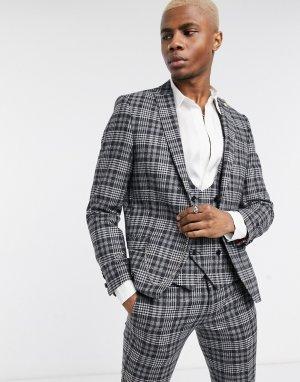 Серый пиджак в клетку Twisted Tailor