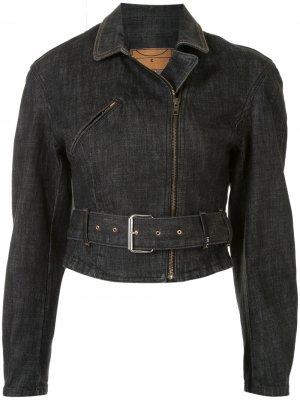 Джинсовая куртка с поясом McQ Swallow. Цвет: синий