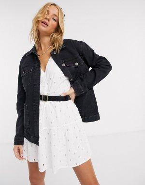Черная джинсовая куртка с 4 карманами -Черный Pimkie