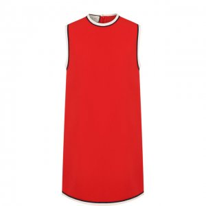 Мини-платье с круглым вырезом и контрастной отделкой Gucci. Цвет: красный
