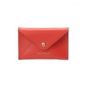 Кожаный футляр для кредитных карт Coccinelle. Цвет: красный