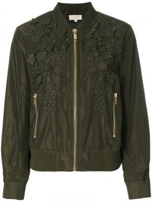 Куртка-бомбер с цветочными деталями Michael Kors. Цвет: зелёный
