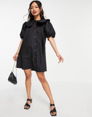 Черное поплиновое платье-рубашка мини с большим воротником -Черный River Island